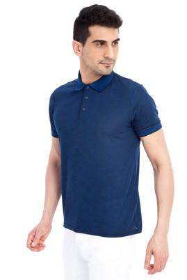 Erkek Giyim - KOYU MAVİ XXL Beden Regular Fit Desenli Polo Yaka Tişört
