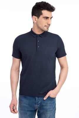 Erkek Giyim - Mavi 3X Beden Polo Yaka Desenli Slim Fit Tişört