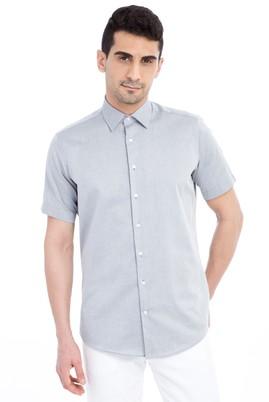 Erkek Giyim - Orta füme M Beden Kısa Kol Klasik Gömlek