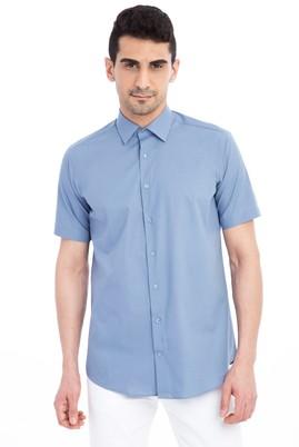 Erkek Giyim - Mavi S Beden Kısa Kol Klasik Gömlek