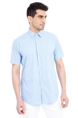 Erkek Giyim - Açık Mavi 3X Beden Kısa Kol Çizgili Klasik Gömlek