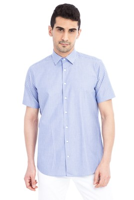 Erkek Giyim - Lacivert M Beden Kısa Kol Çizgili Klasik Gömlek