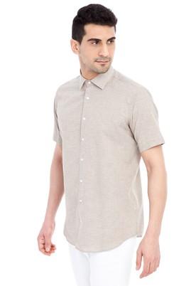 Erkek Giyim - Bej M Beden Kısa Kol Spor Gömlek