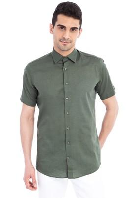 Erkek Giyim - KOYU YESİL M Beden Kısa Kol Spor Gömlek