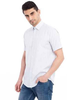 Erkek Giyim - Siyah XXL Beden Kısa Kol Çizgili Klasik Gömlek