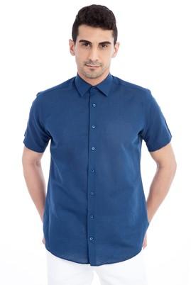 Erkek Giyim - Lacivert M Beden Kısa Kol Spor Gömlek