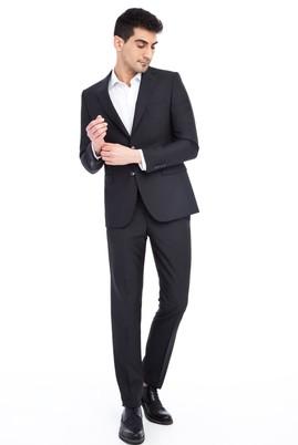 Erkek Giyim - Siyah 50 Beden Desenli Takım Elbise