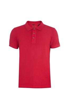 Erkek Giyim - Kırmızı XXL Beden Regular Fit Desenli Polo Yaka Tişört