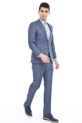 Erkek Giyim - Mavi 58 Beden Desenli Takım Elbise