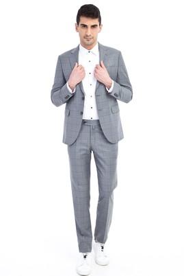 Erkek Giyim - Orta füme 44 Beden Slim Fit Kareli Takım Elbise