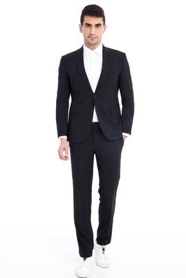 Erkek Giyim - Siyah 46 Beden Slim Fit Kareli Takım Elbise