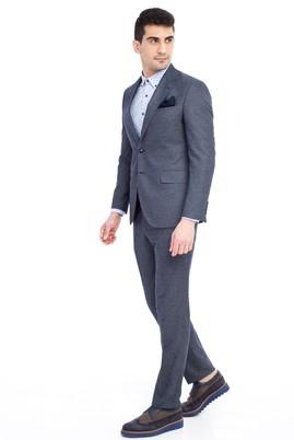 Erkek Giyim - KOYU MAVİ 50 Beden Slim Fit Desenli Takım Elbise