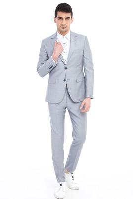 Erkek Giyim - Açık Gri 58 Beden Slim Fit Desenli Takım Elbise
