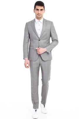 Erkek Giyim - Açık Kahve - Camel 44 Beden Slim Fit Kareli Takım Elbise