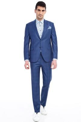 Erkek Giyim - Mavi 46 Beden Slim Fit Kareli Takım Elbise