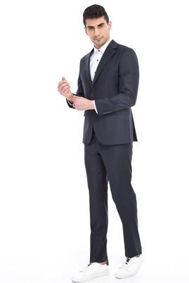Erkek Giyim - Antrasit 48 Beden Slim Fit Kareli Takım Elbise