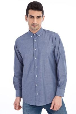 Erkek Giyim - Lacivert M Beden Uzun Kol Düz Gömlek