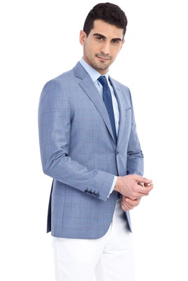 Erkek Giyim - Açık Mavi 44 Beden Slim Fit Ekose Ceket