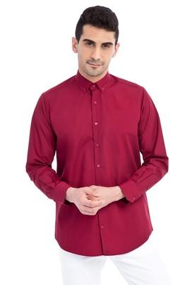 Erkek Giyim - Kırmızı XL Beden Uzun Kol Düz Gömlek