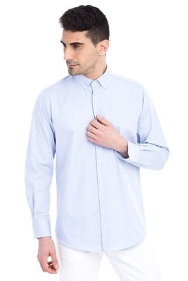 Erkek Giyim - Açık Mavi XXL Beden Uzun Kol Düz Gömlek