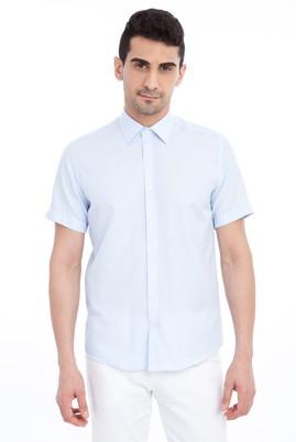 Erkek Giyim - Açık Mavi M Beden Kısa Kol Slim Fit Gömlek