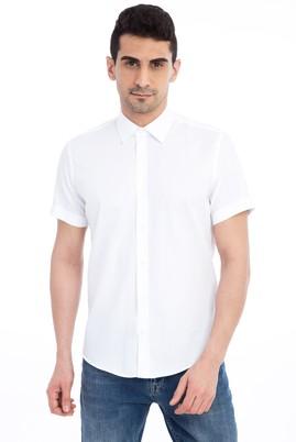 Erkek Giyim - Beyaz S Beden Kısa Kol Slim Fit Gömlek