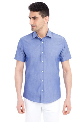 Erkek Giyim - Mavi M Beden Kısa Kol Slim Fit Gömlek