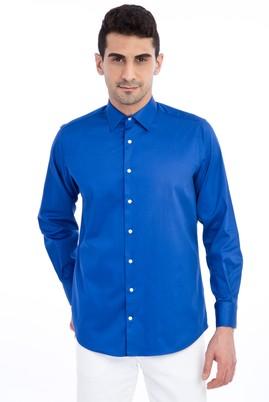 Erkek Giyim - Lacivert M Beden Uzun Kol Klasik Saten Gömlek
