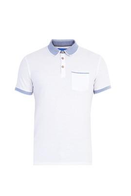 Erkek Giyim - Beyaz S Beden Regular Fit Desenli Polo Yaka Tişört