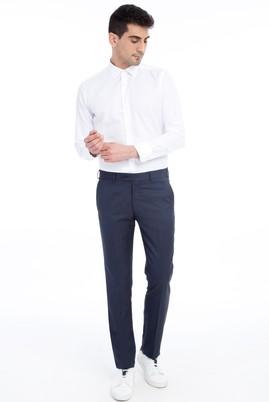 Erkek Giyim - KOYU MAVİ 48 Beden Slim Fit Klasik Desenli Pantolon