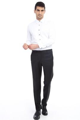 Erkek Giyim - Siyah 50 Beden Yünlü Klasik Desenli Pantolon