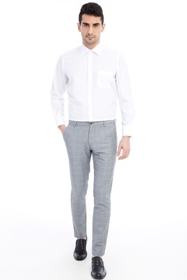 Erkek Giyim - Açık Gri 46 Beden Slim Fit Spor Kareli Pantolon