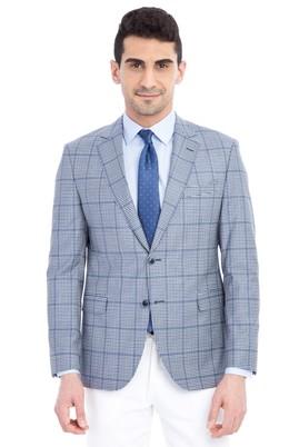 Erkek Giyim - Mavi 46 Beden Slim Fit Klasik Ekose Ceket