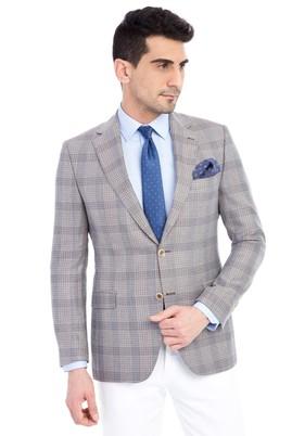 Erkek Giyim - Bej 60 Beden Klasik Ekose Ceket
