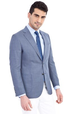 Erkek Giyim - Mavi 62 Beden Klasik Kuşgözü Ceket