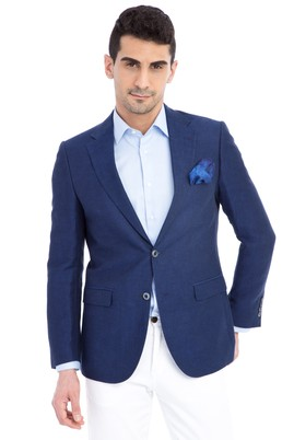 Erkek Giyim - Lacivert 50 Beden Klasik Kuşgözü Ceket