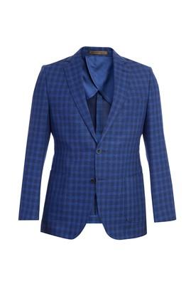 Erkek Giyim - KOYU MAVİ 48 Beden İtalyan Kareli Ceket