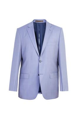 Erkek Giyim - Açık Mavi 52 Beden İtalyan Yün Balıksırtı Ceket