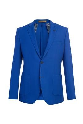 Erkek Giyim - Mavi 46 Beden Spor Yün Desenli Ceket