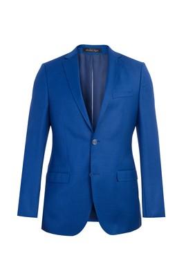 Erkek Giyim - Mavi 48 Beden Slim Fit Yünlü Ceket