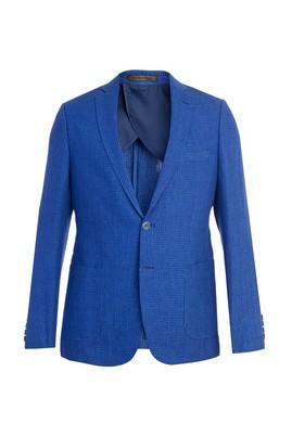 Erkek Giyim - Mavi 48 Beden Slim Fit İtalyan Keten Ceket