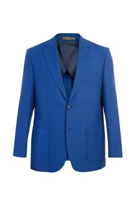 Erkek Giyim - Mavi 52 Beden İtalyan Yünlü Örme Ceket