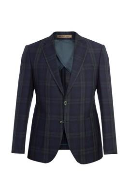 Erkek Giyim - KOYU YESİL 50 Beden Slim Fit İtalyan Ekose Ceket