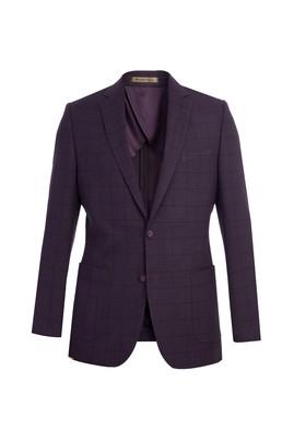 Erkek Giyim - Bordo 50 Beden İtalyan Kareli Ceket