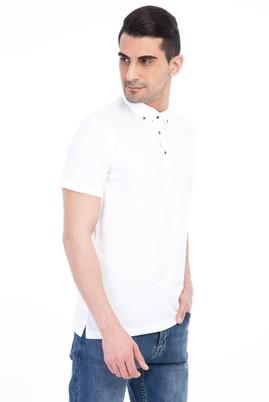 Erkek Giyim - Beyaz 3X Beden Flora Polo Yaka Tişört