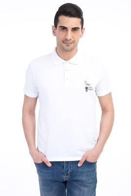 Erkek Giyim - Beyaz M Beden Regular Fit Nakışlı Polo Yaka Tişört