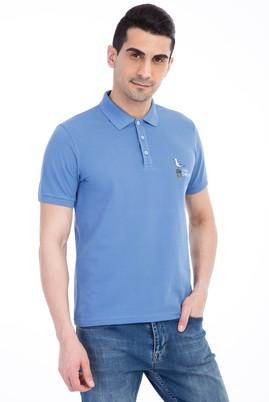 Erkek Giyim - Mavi 3X Beden Regular Fit Nakışlı Polo Yaka Tişört