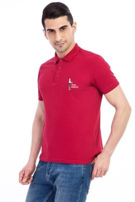 Erkek Giyim - Bordo L Beden Regular Fit Nakışlı Polo Yaka Tişört