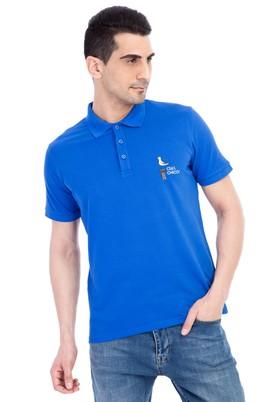 Erkek Giyim - KOYU MAVİ 3X Beden Regular Fit Nakışlı Polo Yaka Tişört