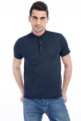 Erkek Giyim - Acık Yesıl XS Beden İtalyan Yaka Desenli Slim Fit Tişört
